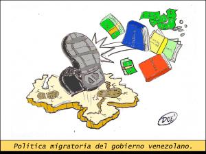 Caricatura de Doe2 representando como el gobierno esta tratando a los estudiantes, los academicos, los empresarios y todas las personas se ven forzados a migrar del pais